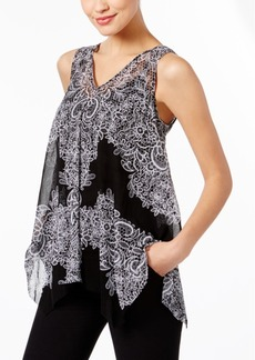 INC International Concepts I.n.c. Printed Handkerchief-Hem Top, Created for Macy's
