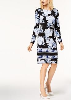 I.n.c. Petite Printed Striped-Border Sheath Dress, Created for Macy's