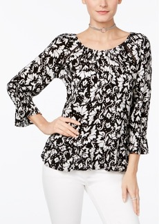 INC International Concepts I.n.c. Printed Peasant Top, Created for Macy's