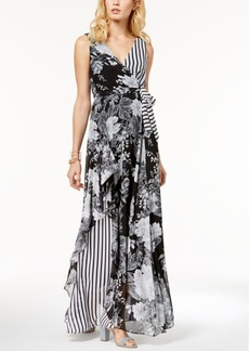 Inc International Concepts Printed Ruffle-Trim Surplice Maxi Dress, Created for Macy's