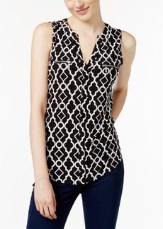 I.n.c. Printed Split-Neck Top, Created for Macy's