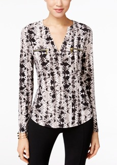 Inc International Concepts Printed Zip-Pocket Blouse, Only at Macy's