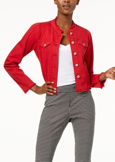 INC International Concepts I.n.c. International Concepts Puffed-Shoulder Cropped Denim Jacket, Created for Macy's