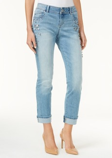 Inc International Concepts Rhinestone Cuffed Slim Jeans, Created for Macy's
