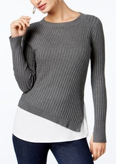 Inc International Concepts Ribbed Layered-Look Sweater, Created for Macy's