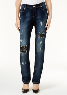 Inc International Concepts Ripped Lace-Trim Boyfriend Jeans, Created for Macy's