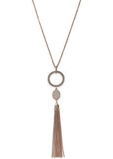 Inc International Concepts Rose Gold-Tone Pave Circle Pendant Tassel Necklace, Created for Macy's