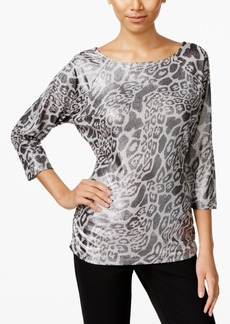 Inc International Concepts Zip-Shoulder Animal-Print Top, Created for Macy's