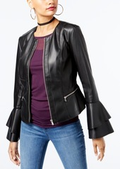 INC International Concepts I.n.c. Ruffle-Sleeve Faux-Leather Jacket, Created for Macy's