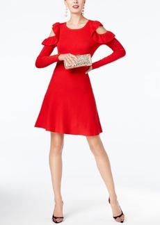 Inc International Concepts Ruffled Cold-Shoulder Sweater Dress, Created for Macy's