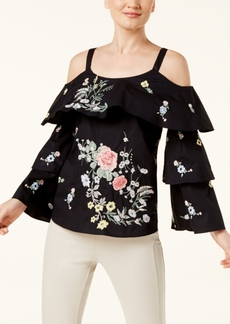 I.n.c. Petite Tiered Cold-Shoulder Top, Created for Macy's
