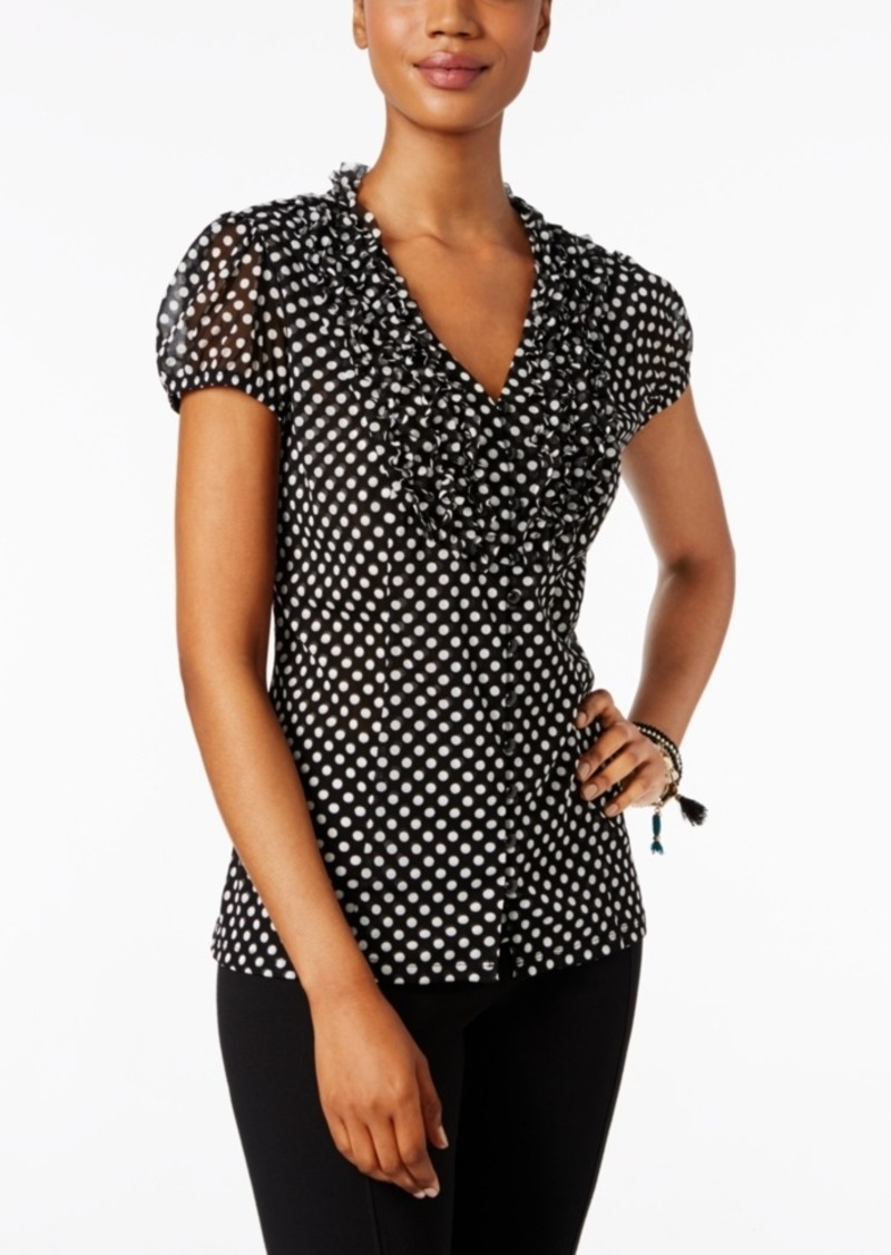 INC International Concepts Inc Ruffled Printed Blouse, Created for Macy's