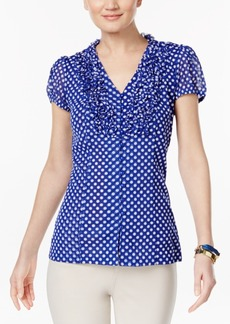Inc International Concepts Ruffled Polka-Dot Blouse, Created for Macy's