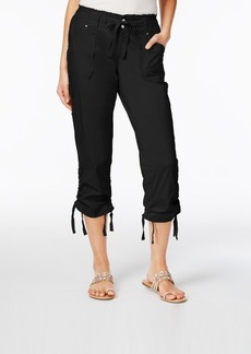 Inc International Concepts Ruffled-Waist Cropped Cargo Pants, Created for Macy's