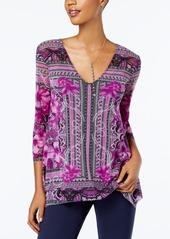 Inc International Concepts Scarf-Print Handkerchief-Hem Top, Created for Macy's
