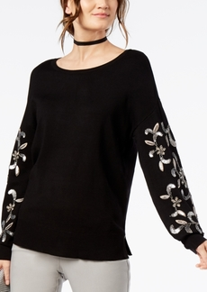 INC International Concepts I.n.c. Scoop-Neck Sequin-Embellished Sweater, Created for Macy's