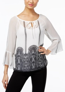 Inc International Concepts Sheer Printed Peasant Top, Only at Macy's