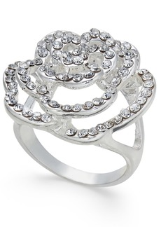 INC International Concepts I.n.c. Silver-Tone Pave Rose Ring, Created for Macy's