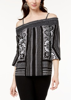 I.n.c. Petite Smocked Printed Off-The-Shoulder Top, Created for Macy's