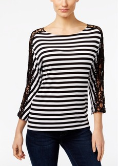 Inc International Concepts Striped Crocheted-Sleeve Top, Only at Macy's