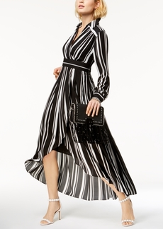 INC International Concepts Inc Striped Faux-Wrap High-Low Dress, Created for Macy's