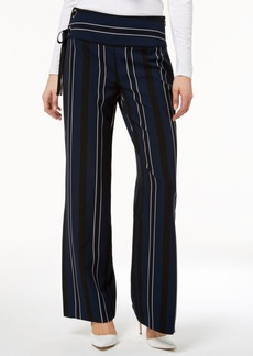 INC International Concepts I.n.c. Striped Grommet Lace-Up Slit Wide-Leg Pants, Created for Macy's