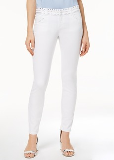Inc International Concepts Curvy-Fit Studded White Skinny Jeans, Created for Macy's