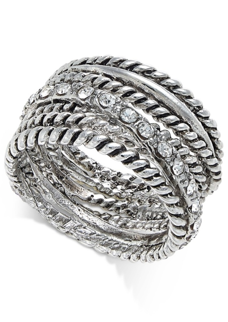 INC International Concepts Inc Textured Pave Statement Ring, Created for Macy's