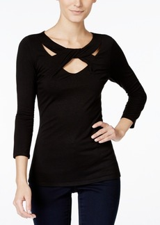 Inc International Concepts Three-Quarter-Sleeve Cutout Top, Created for Macy's