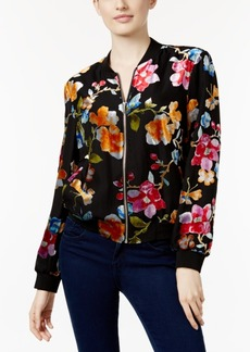 Inc International Concepts Velvet Floral-Print Bomber Jacket, Only at Macy's