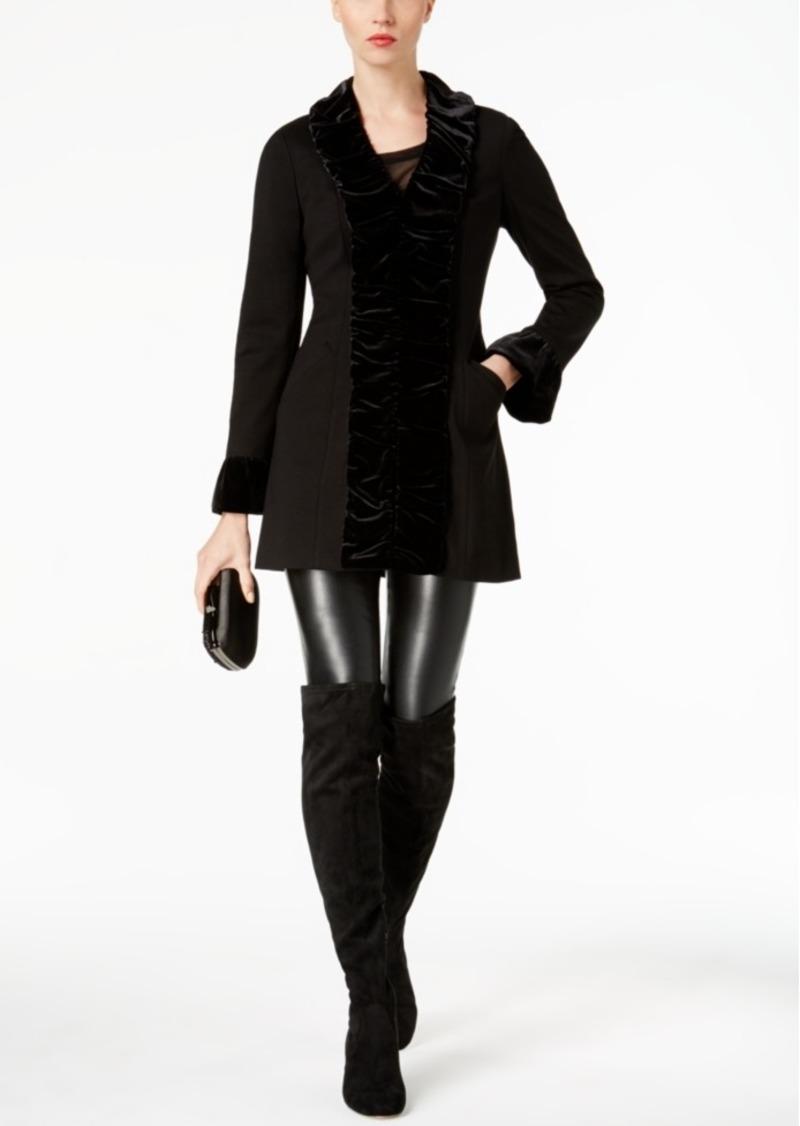 Inc International Concepts Velvet-Ruffle Coat, Created for Macy's