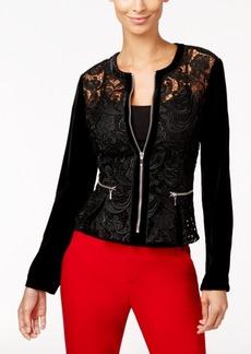 Inc International Concepts Velvet-Sleeve Lace Peplum Jacket, Only at Macy's