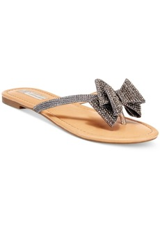 Inc International Concepts Malissa Rhinestone Bow Flat Sandals, Created for Macy's Women's Shoes