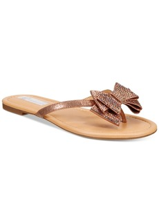 Inc International Concepts Malissa Rhinestone Bow Flat Sandals, Only at Macy's Women's Shoes