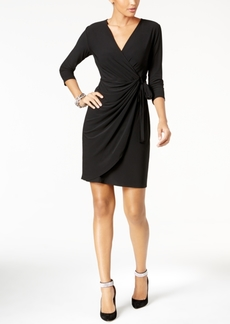 INC International Concepts Inc Petite Solid Wrap Dress, Created for Macy's