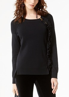 INC International Concepts I.n.c. Zip-Detail Ruffle Sweater, Created for Macy's