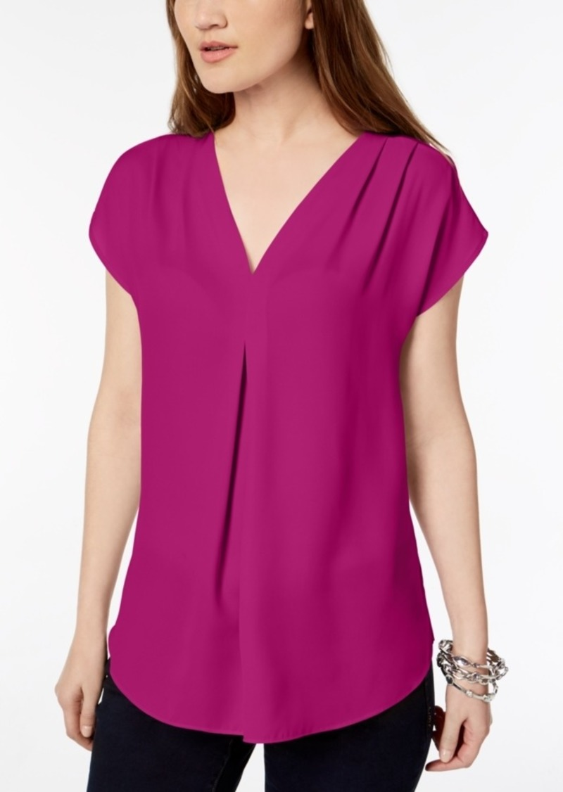 INC International Concepts Inc Inverted-Pleat V-Neck Top, Created for Macy's