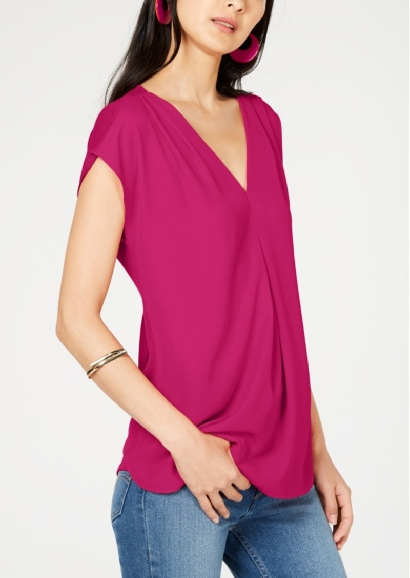 INC International Concepts I.n.c. Inverted-Pleat V-Neck Top, Created for Macy's