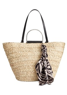 INC International Concepts Inc Kourtneyy Tulip Straw Tote with Scarf