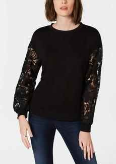 INC International Concepts I.n.c. Lace-Sleeve Sweatshirt, Created for Macy's