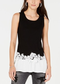 INC International Concepts Inc Petite Layered-Look Lace-Trim Top, Created for Macy's
