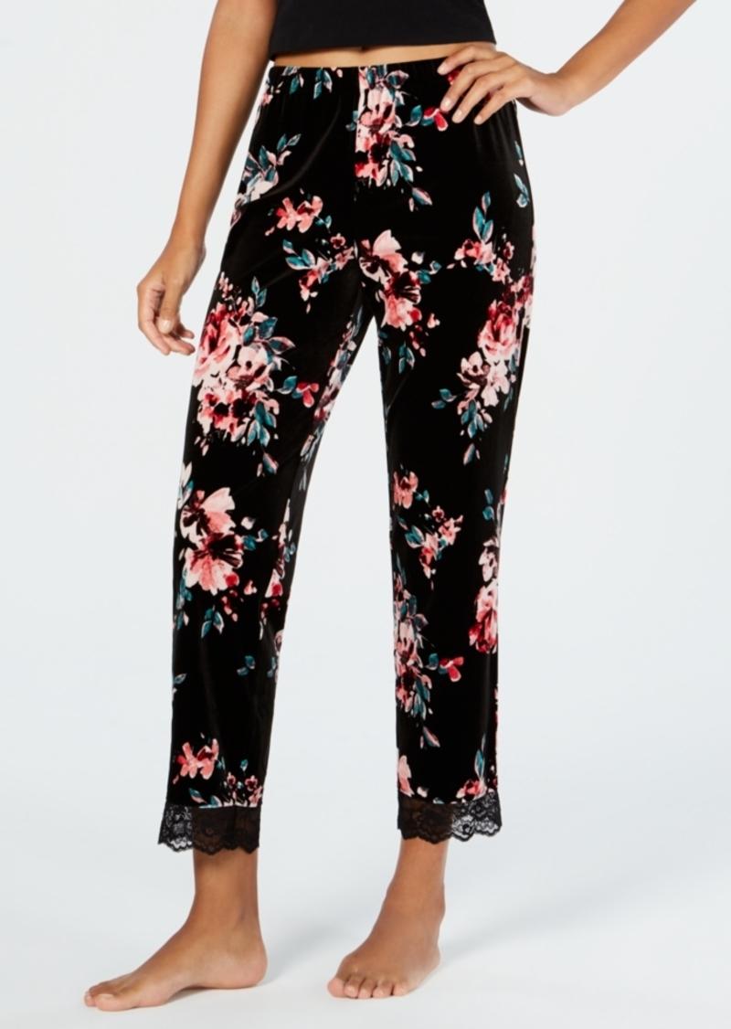 645b4eed23b05 INC International Concepts I.n.c. Lace-Trim Printed Velvet Pajama Pants