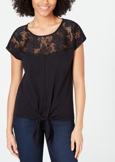 INC International Concepts I.n.c. Lace-Trim Tie-Front Top, Created for Macy's