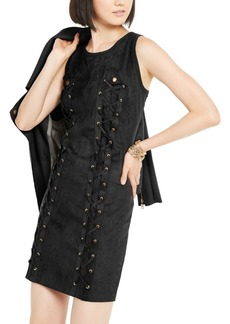 INC International Concepts Inc Lace-Up Faux-Suede Dress, Created for Macy's