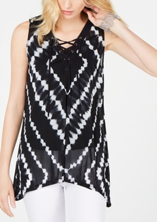 INC International Concepts Inc Lace-Up Hanky-Hem Top, Created for Macy's