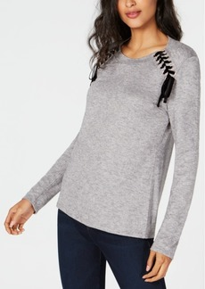 INC International Concepts I.n.c. Lace-Up Scoop-Neck Top, Created for Macy's