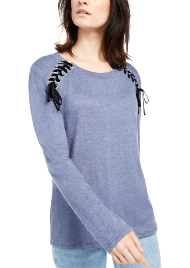 INC International Concepts Inc Lace-Up Scoop-Neck Top, Created for Macy's