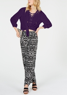 INC International Concepts Inc Lace-Up Tie-Front Top, Created for Macy's