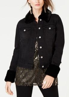 INC International Concepts I.n.c. Leopard-Print Faux-Fur Trim Denim Jacket, Created for Macy's
