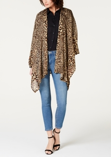 INC International Concepts Inc Leopard-Print Knit Ruana, Created for Macy's